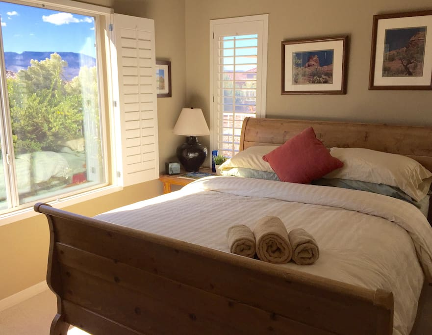 A resort-like desert botanical setting with mountain views right outside your guest room...