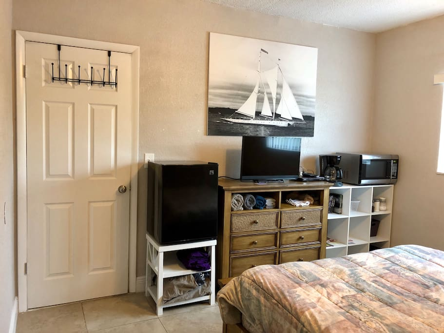 Mini-fridge, tv w/ Netflix & DVD player, microwave, & coffee maker all in your room
