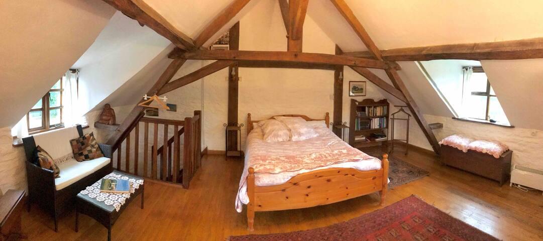Photo grand angle de la chambre.  Wide angle photo of the room.  Room size accurate.