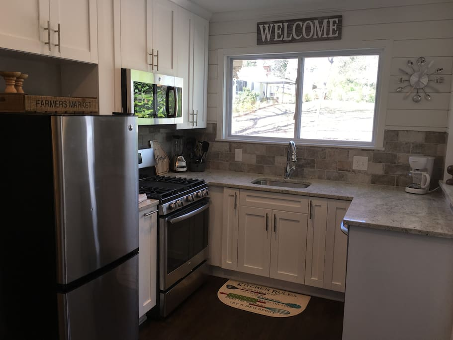 Kitchen is fully stocked with cookware, glassware, silverware, cutlery, and coffee maker. If you notice something you need to make your stay feel more like home, let us know!