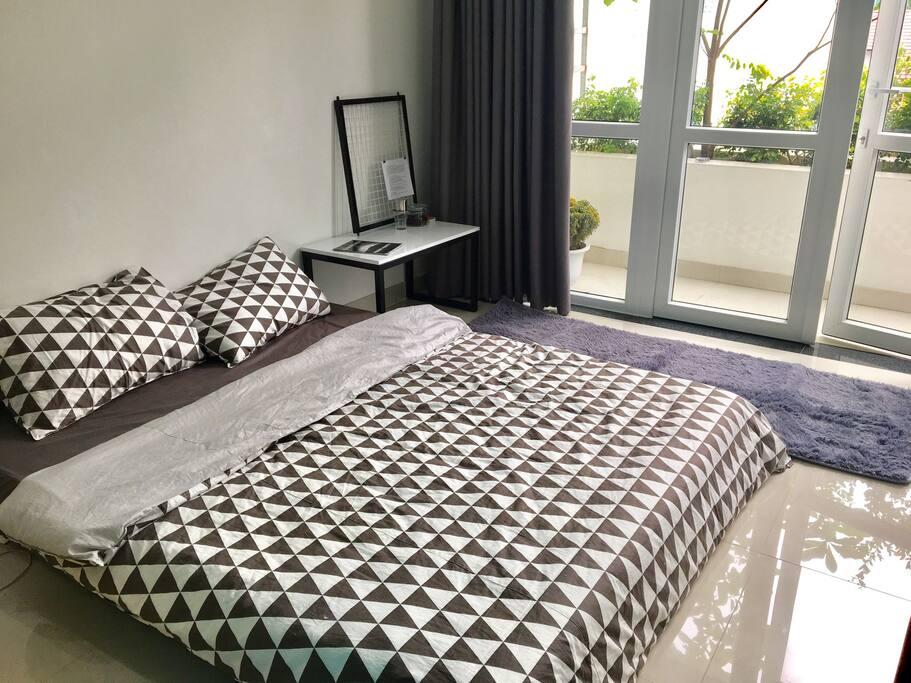 Bedroom 01 floor style bed and working desk