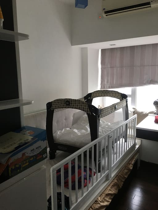 3rd Bedroom is equipped for a baby or remove cot for small child