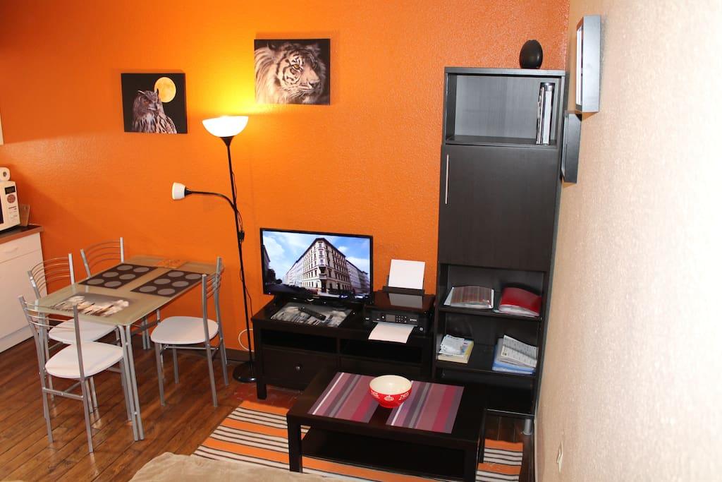 Espace salon / repas / cuisine convivial