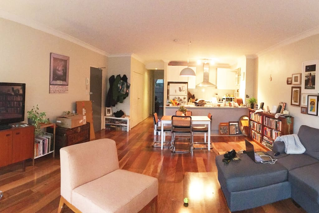 Our living room and kitchen, both yours to share.