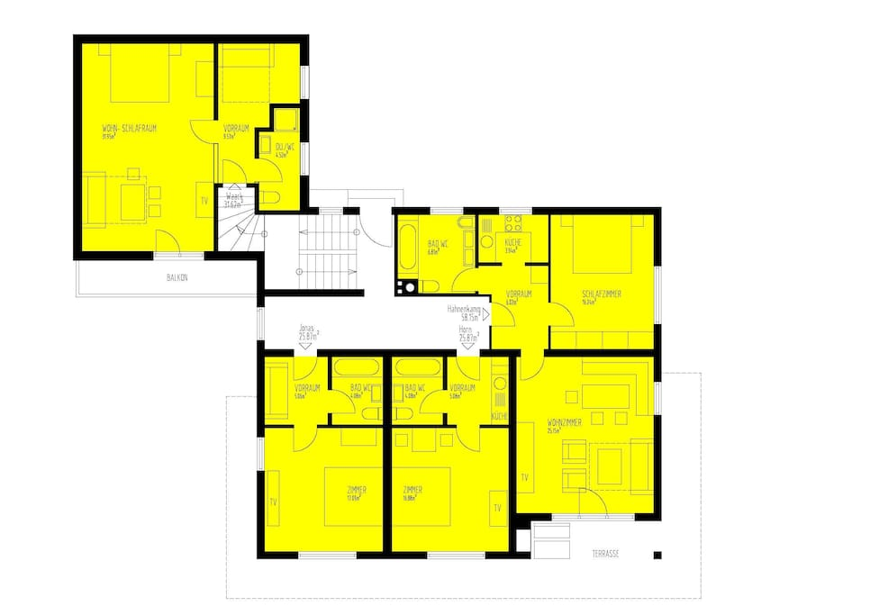 floor plan: 4 separate apartments - perfect accomodation for 8-12 persons
