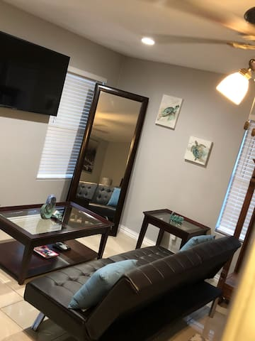 Sitting area (55 inch flat screen with Xfinity Voice 1 Remote) with futon.