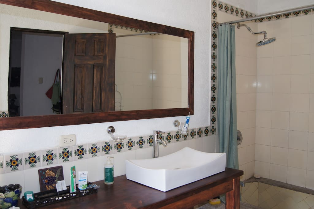 brand new bathroom with rain shower and huge mirror