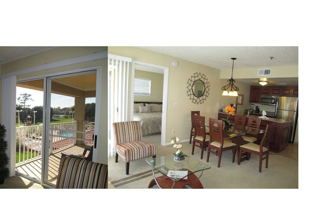 Living/Dining Open to Balcony overlooking the Pool & Playground