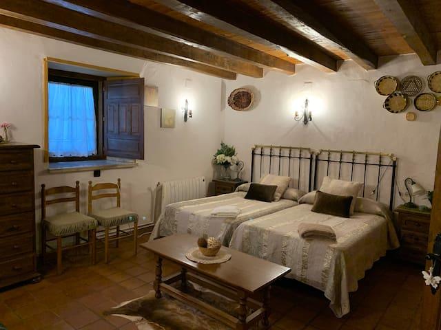Habitación doble muy amplia, con dos camas individuales y sofá cama para tres personas