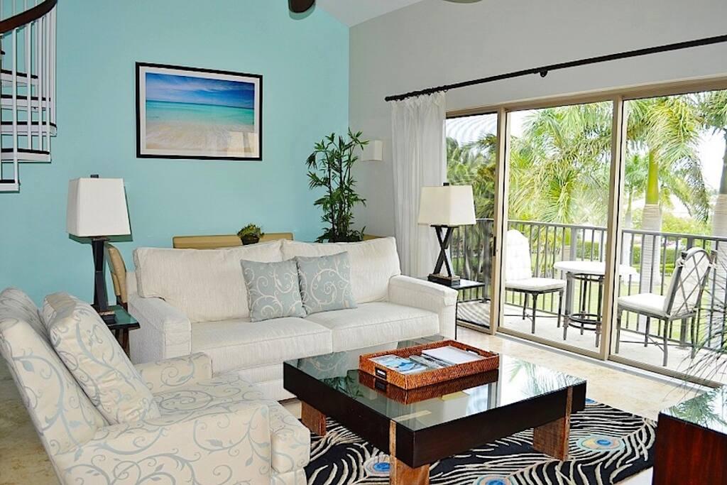 Living room overlooking gardens