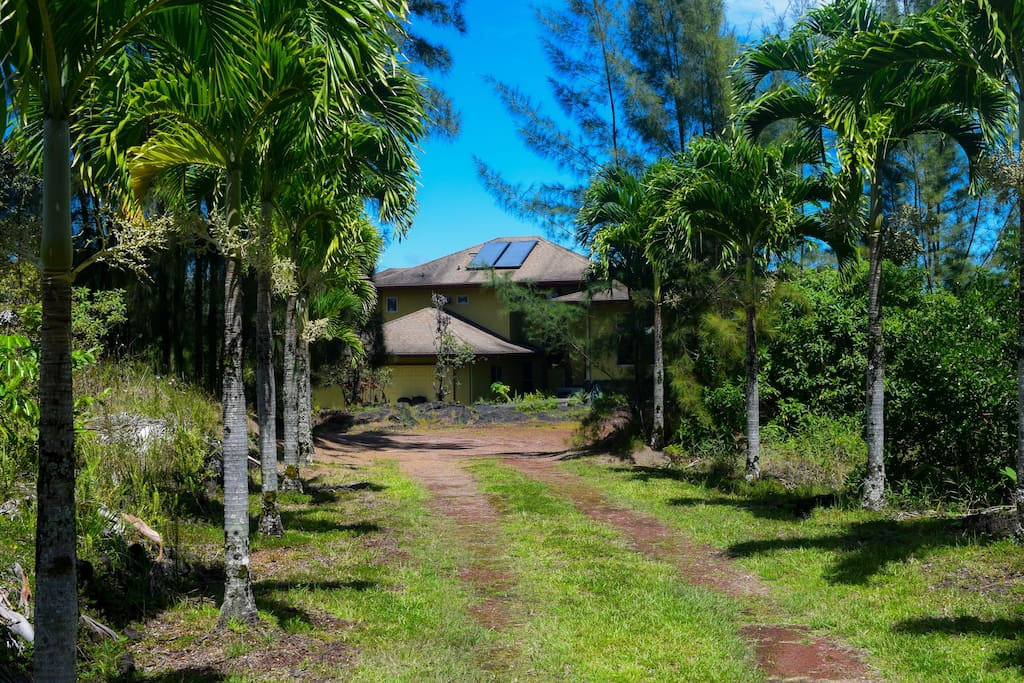 Mele Kai sits at the end of a long, palm-lined driveway on a private acre