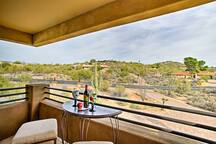 Enjoy a glass of wine on the furnished balcony.