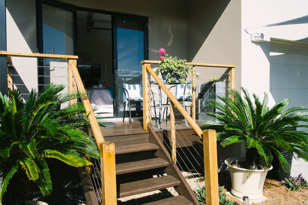 View of undercover verandah with French doors.