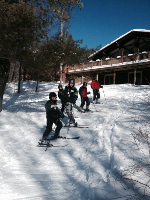 Winter: Ski-in ski-out available to those who can manage this steep little access hill. If not, we abut Catamount ski area and you can hop on after walking 100 yards up our road, or drive down to the parking lot.  Lift tickets required.