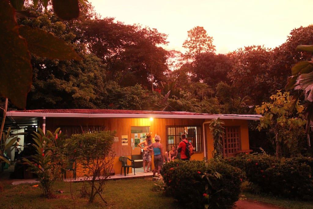 Hostel at sunset