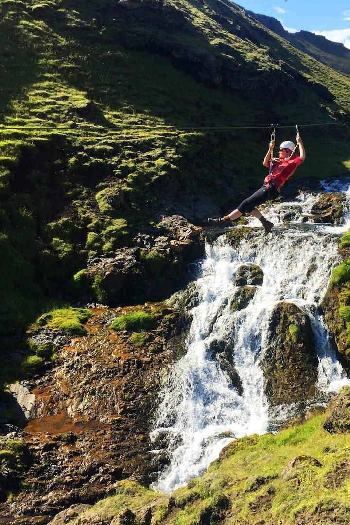 Zip'n over waterfalls