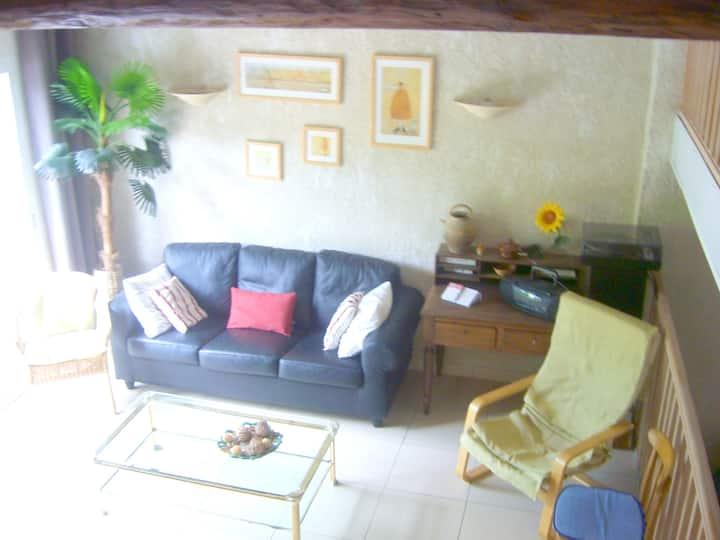 Maison de 2 chambres à Lunas, avec magnifique vue sur la montagne et jardin clos