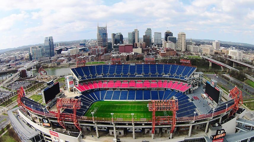 Nissan stadium! This condo is behind the skyscraper on the left. 4 blocks and then the pedestrian bridge and you're at the game! 12-15 min walk Faster than waiting in traffic to park!