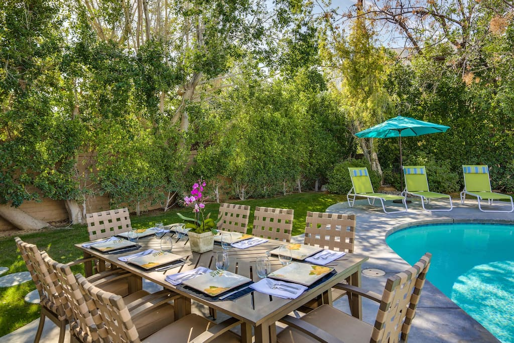 Ours is a most private backyard.  There are lounge 6 lounge chairs, a dining table and comfortable outdoor furniture.
