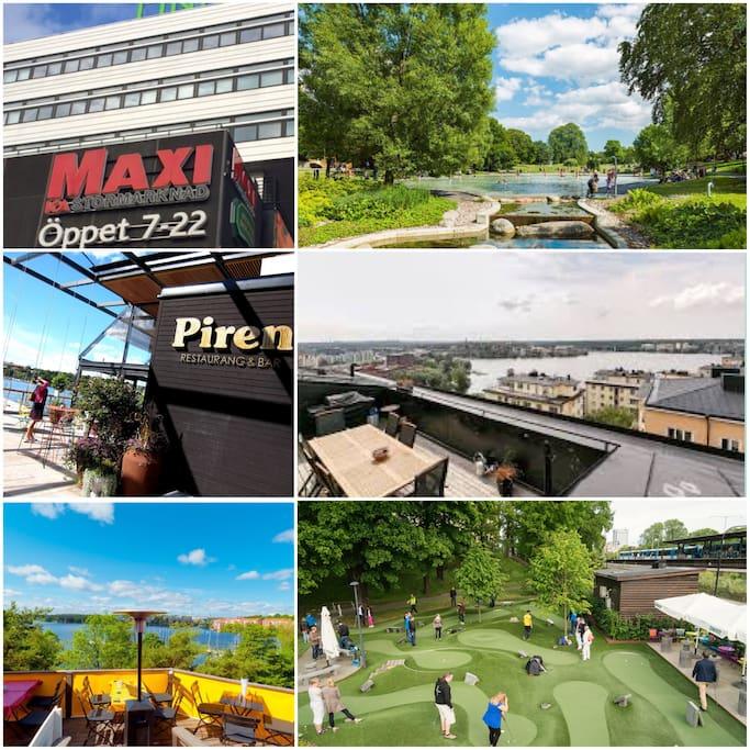 Enstaka minuter från bl.a. Kristineberg tunnelbana, Rålambshovsparken, Solstugan, Fredhällsklipporna, Golfbaren.