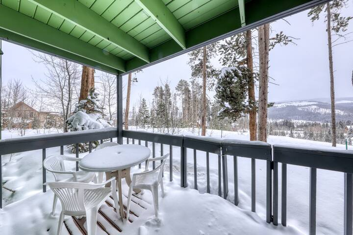 Peaceful mountain condo w/fireplace, porch, & grill - close to bus stop & town!