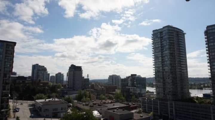 Den 3 min walk to New West Skytrain Stn & River
