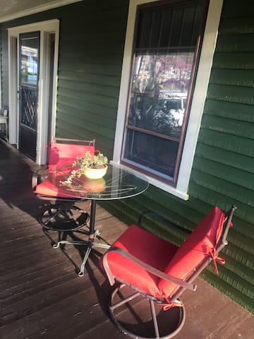 Your place to relax on the front porch just outside of the front door and your bedroom window.