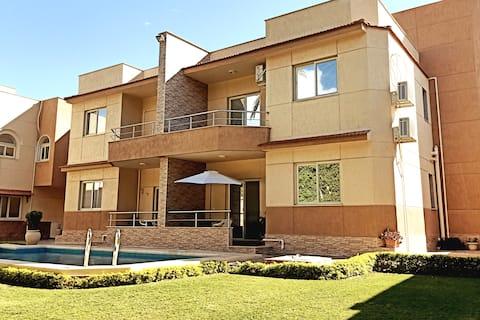 Modern family villa, A/C BR, w/ garden & pool view