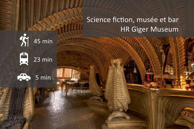 Découvrez le monde de HR Giger, artiste ayant créé la créature et le vaisseau étranger du film Alien. Le bar et le musée se trouvent à Gruyère et peuvent être visités en même temps que la ville.