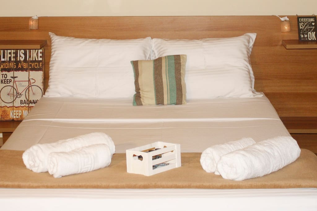 King size double bed with 100% Egyptian Cotton sheet