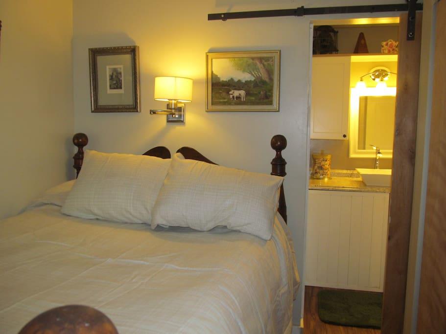 Private Bedroom with separate door into bathroom sink area