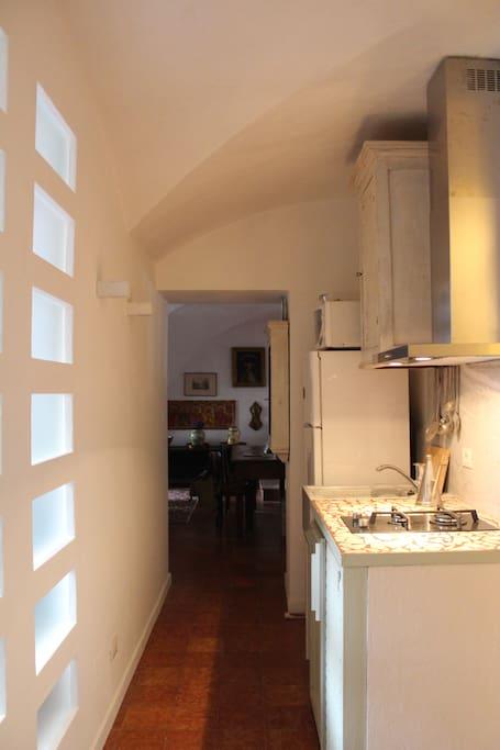 Kitchen with corridor