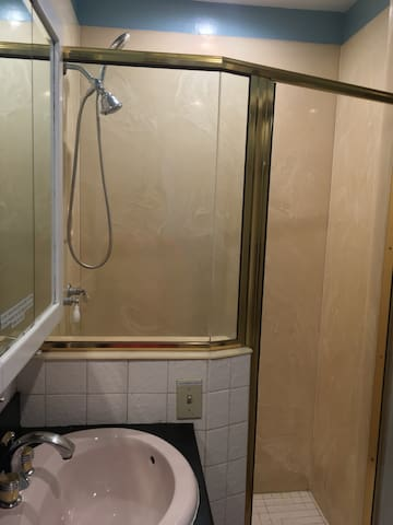 Large spacious walk-in shower with maneuverable shower head attachment