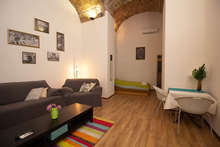 Enjoy the roominess! The spacious living room and bedroom is only divided by two narrow walls.