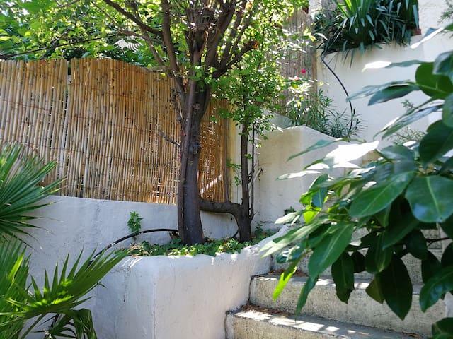 montez quelques marches dans le jardin