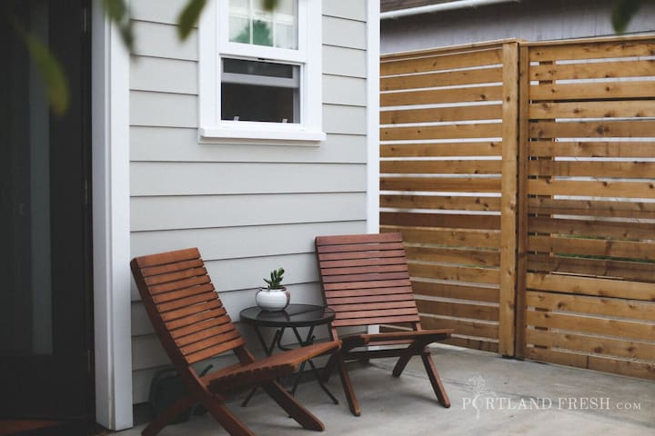 Patio and private back  entrance. Photo by Christiann Koepke with Portland Fresh.