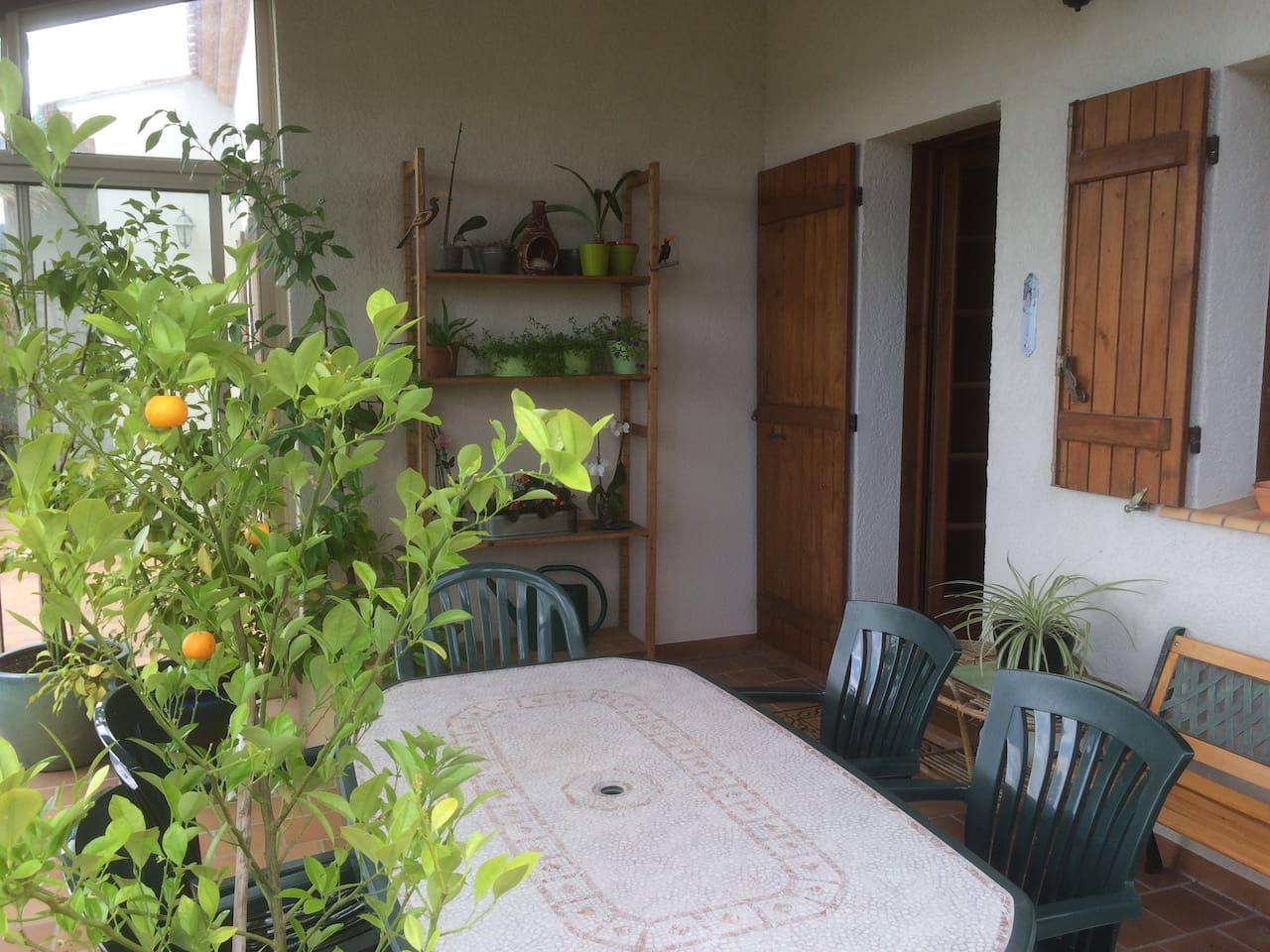 Terrasse protégée du vent, très agréable pour les repas et la vue sur les vignes environnantes.