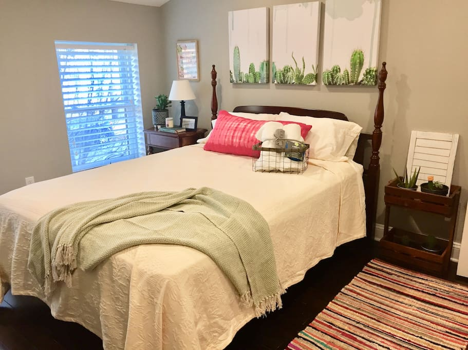 Master suite with queen bed. Includes private bath with shower and closet.