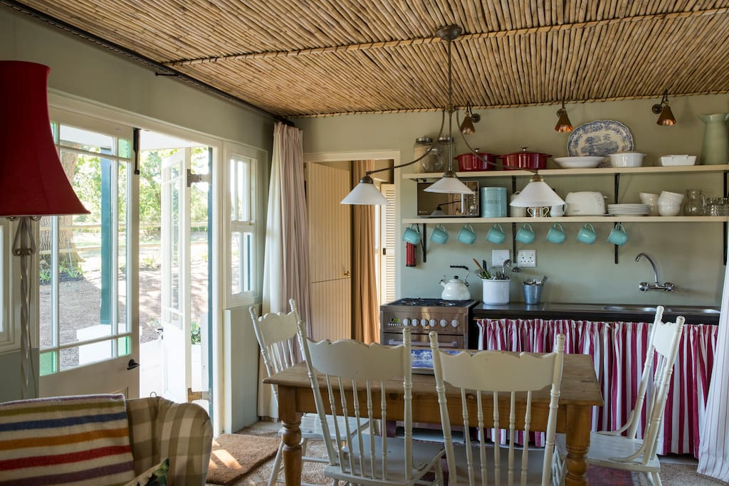 Cosy kitchen with views of horse paddock and private little garden