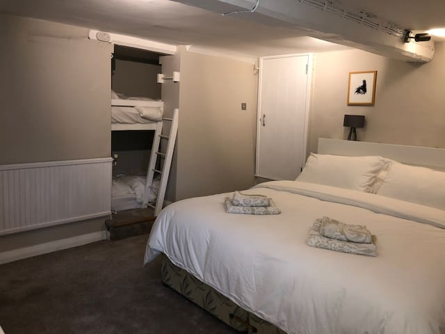 Bedroom with two full sized singe BunkBeds