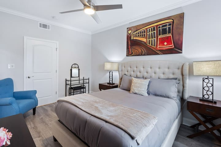 The Master bedroom has a plush mattress, soft linens, private bathroom with walk in shower and soaking tub!