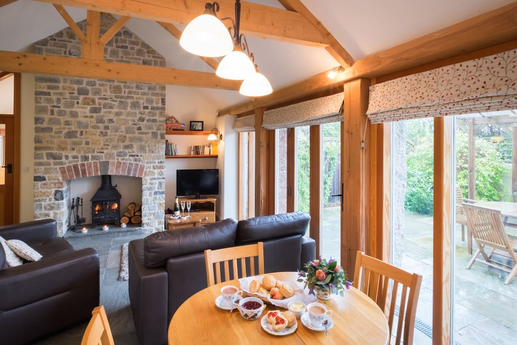 Open plan lounge/dining area with underfloor heating.
