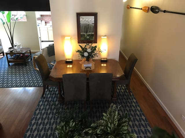 One of three sitting areas in the entryway living room. Comfortable seating for guests for relaxing after concerts, fitness events, conferences or training. Quiet workspace if needed. WIFI is also available.