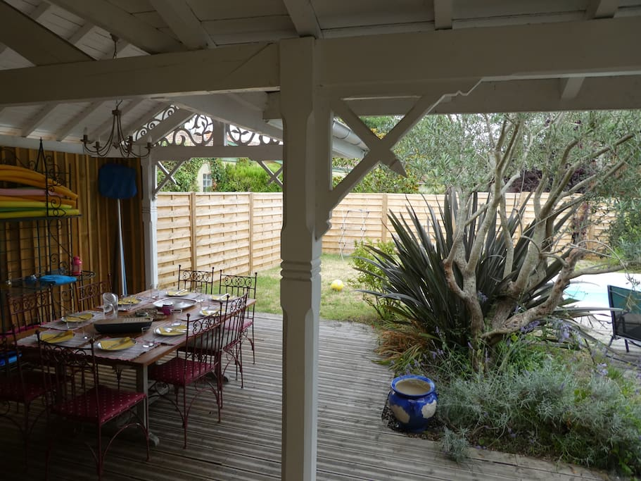 Shaded dining area accommodating at least 8