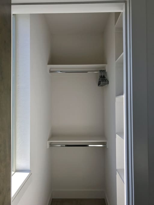 Large walk in closet for guests