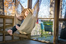 Is this the greatest place to relax in Richmond? The treehouse has two hammock swings on the bottom level. They can be stretched wide for sleeping!