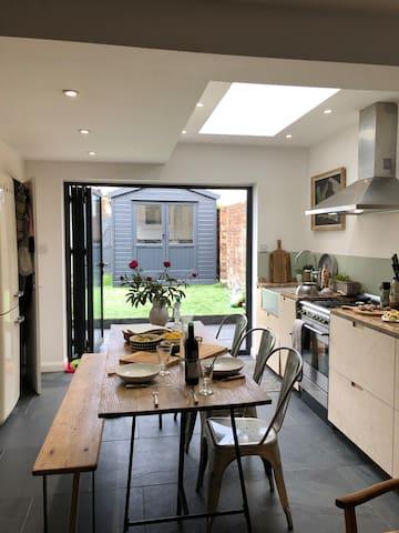 Kitchen and doors to garden
