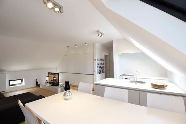 Large dining table. Spacious kitchen workspace.