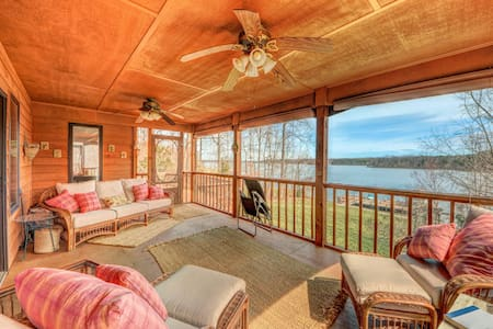 Lakefront home w/ two kitchens, a dock, BBQ, & firepit!