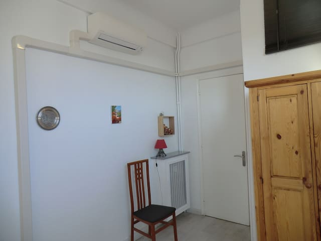Air conditioning in bedroom.